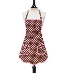 Jessie Steele Brown with Pink Polka Dots Bib Apron