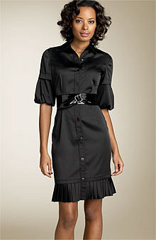 Phoebe Bubble Sleeve Shirtdress with Patent Leather Belt - Updated - Nordstrom