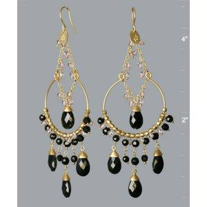 Julie Sandlau gold beaded Gypsy hoop earrings