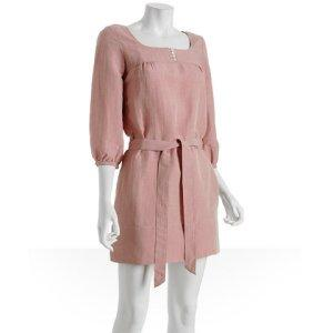 Generra dark nude linen blend belted