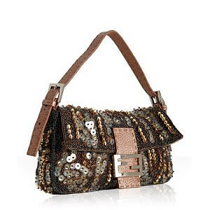 Fendi rose pebbled leather embellished baguette