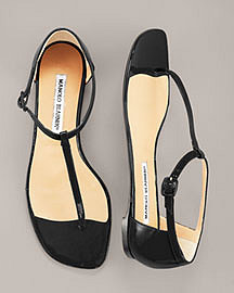Manolo Blahnik Patent T-Strap Thong Sandal at Neiman Marcus