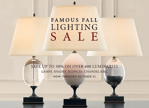 Sale Alert: Restoration Hardware Fall Lighting Sale