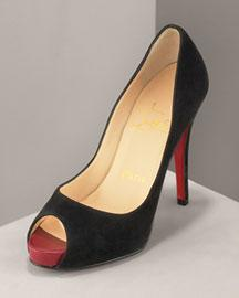 Christian Louboutin� Suede Peep-Toe Pump� Sold!