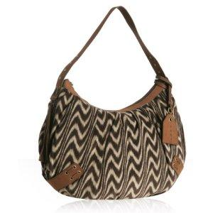 Bluefly - Hype brown swirl print corduroy 'Causeway' hobo