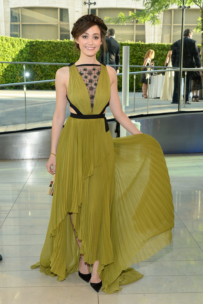 Emmy Rossum wore a J. Mendel gown.